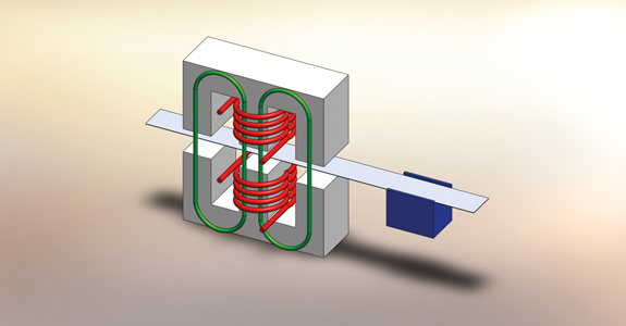 Principle of cross field heating (inductor + cooling)
